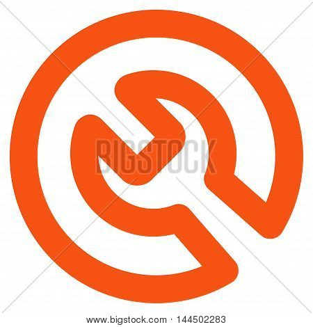 Install vector icon. Style is linear flat icon symbol, orange color, white background.