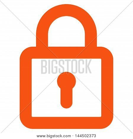 Lock vector icon. Style is outline flat icon symbol, orange color, white background.