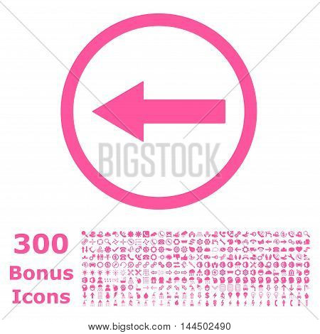 Left Rounded Arrow icon with 300 bonus icons. Vector illustration style is flat iconic symbols, pink color, white background.