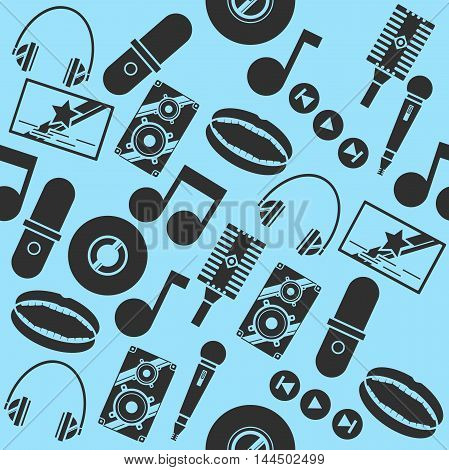 Vector pattern on the theme of karaoke. Hand drawn pattern with symbols of music on black color.