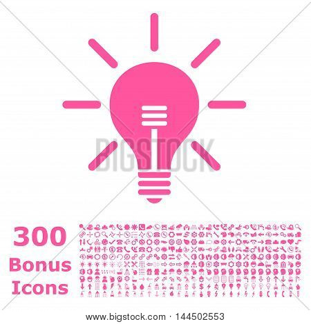 Light Bulb icon with 300 bonus icons. Vector illustration style is flat iconic symbols, pink color, white background.