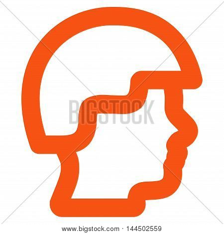 Soldier Head vector icon. Style is linear flat icon symbol, orange color, white background.