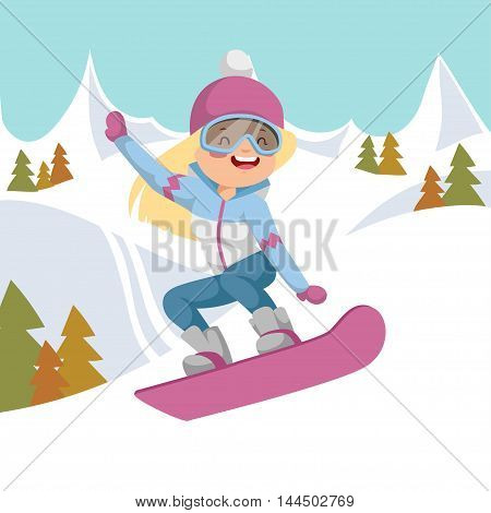 She rides on a snowboard. Jump the mountains in the background.