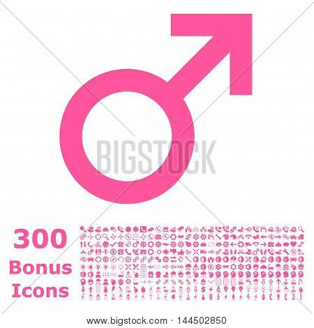 Male Symbol icon with 300 bonus icons. Vector illustration style is flat iconic symbols, pink color, white background.