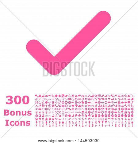Ok icon with 300 bonus icons. Vector illustration style is flat iconic symbols, pink color, white background.
