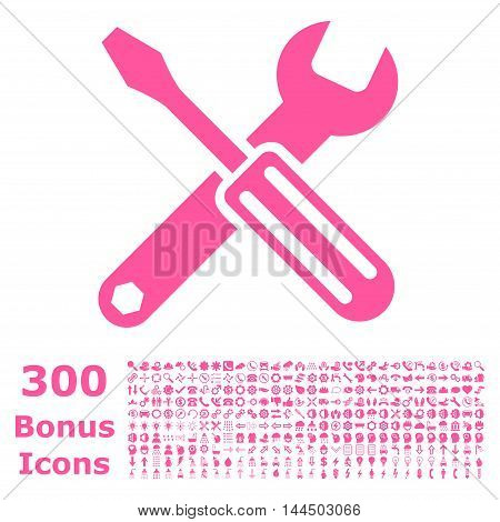 Options icon with 300 bonus icons. Vector illustration style is flat iconic symbols, pink color, white background.