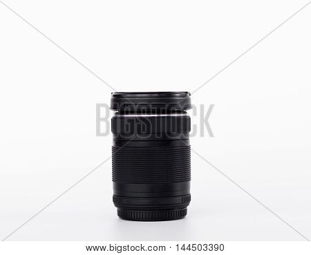 Black Lens Camera isolated on the white background.
