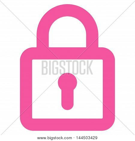 Lock vector icon. Style is linear flat icon symbol, pink color, white background.