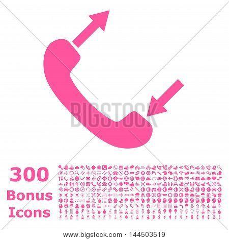 Phone Talking icon with 300 bonus icons. Vector illustration style is flat iconic symbols, pink color, white background.
