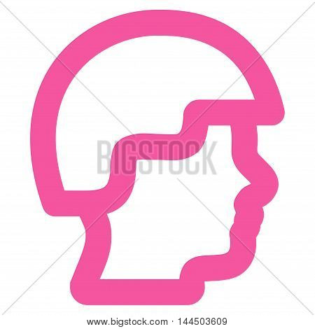 Soldier Head vector icon. Style is outline flat icon symbol, pink color, white background.
