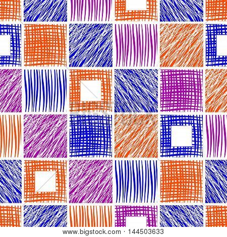 Seamless vector geometrical pattern. Endless background with different hand drawn colorful squares.