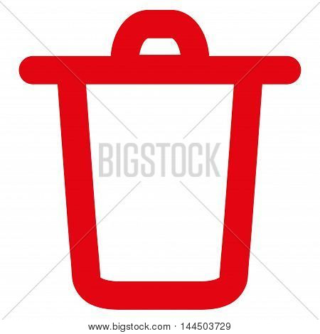 Bucket vector icon. Style is linear flat icon symbol, red color, white background.