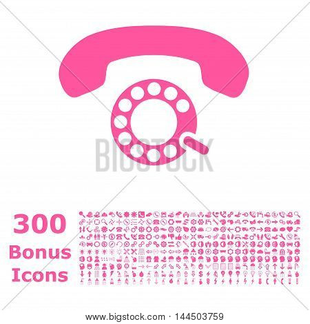 Pulse Dialing icon with 300 bonus icons. Vector illustration style is flat iconic symbols, pink color, white background.