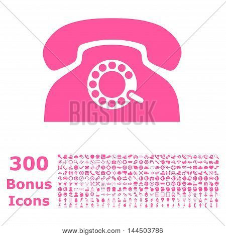 Pulse Phone icon with 300 bonus icons. Vector illustration style is flat iconic symbols, pink color, white background.