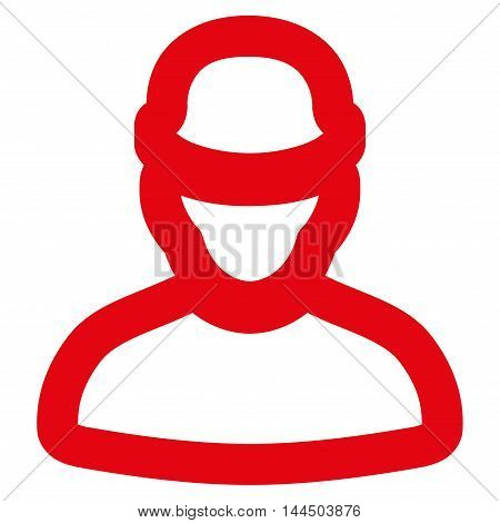 Builder vector icon. Style is linear flat icon symbol, red color, white background.