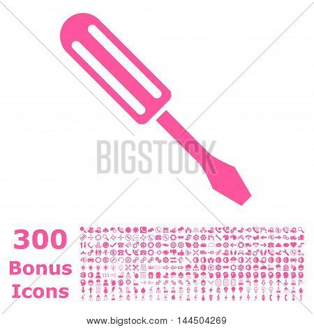 Screwdriver icon with 300 bonus icons. Vector illustration style is flat iconic symbols, pink color, white background.