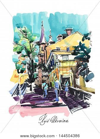 original sketch drawing of Zoloti Vorota place in Kyiv Ukraine, watercolor vector illustration with hand lettering inscription