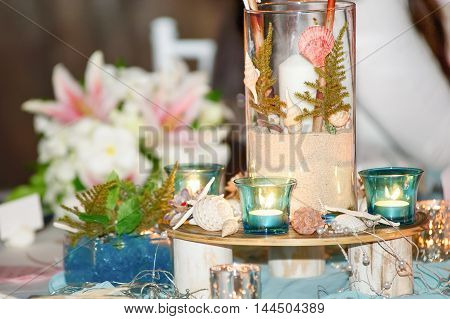 beautiful seaside beach wedding decorations and arrangement