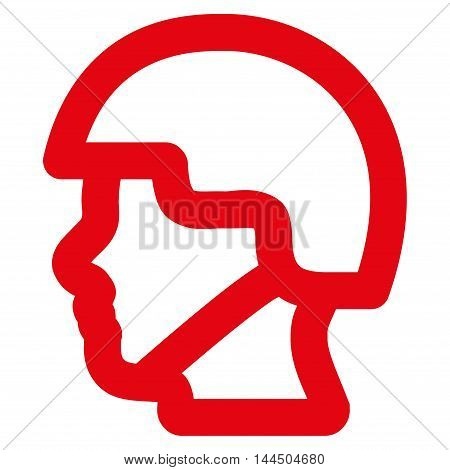 Soldier Head vector icon. Style is outline flat icon symbol, red color, white background.