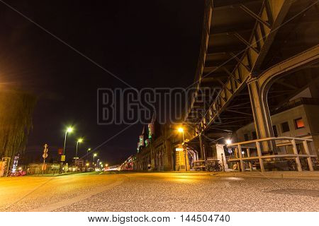 Berlin Kreuzberg At Night  , Oberbaum Bridge