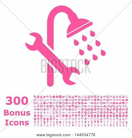 Shower Plumbing icon with 300 bonus icons. Vector illustration style is flat iconic symbols, pink color, white background.