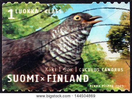 FINLAND - CIRCA 2003: a stamp printed in Finland shows Common Cuckoo Cuculus Canorus Bird circa 2003