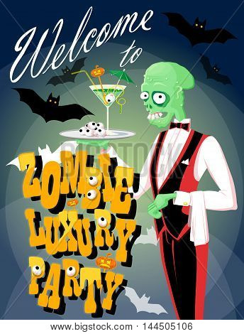 Funny zombie waiter with cocktail. Cartoon style. Design halloween poster banner or holiday card. Vector illustration