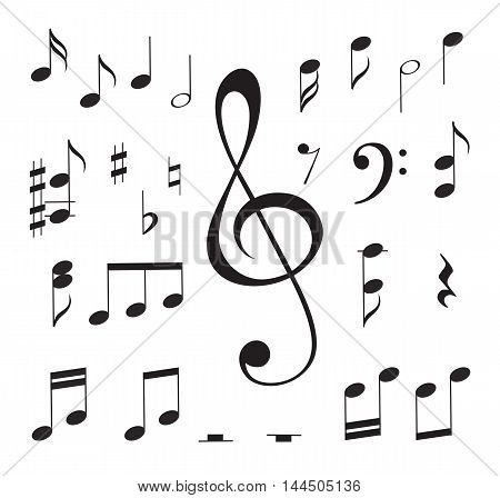 Vector illustration of music notes and key