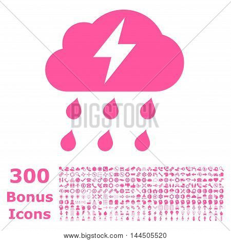 Thunderstorm icon with 300 bonus icons. Vector illustration style is flat iconic symbols, pink color, white background.