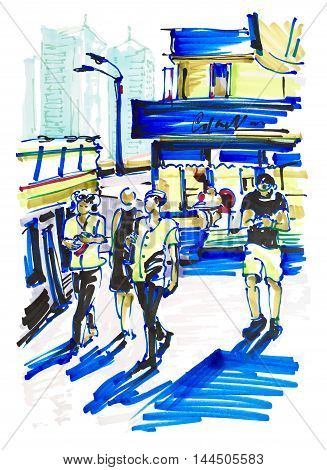 urban sketch markers drawing on paper of street city Kyiv Ukraine with building and people move in sunshine day