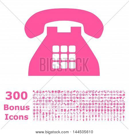Tone Phone icon with 300 bonus icons. Vector illustration style is flat iconic symbols, pink color, white background.