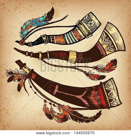 The concept for the design. Vector illustration. Authentic musical instrument American Indians.