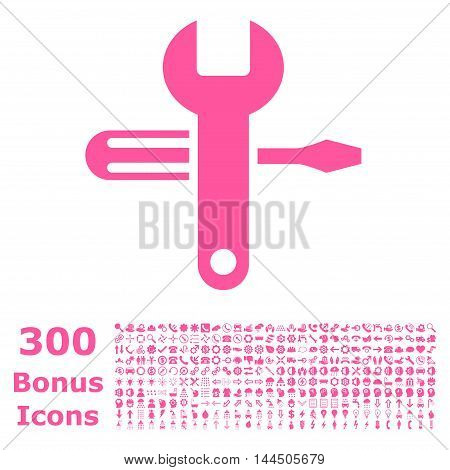 Tuning icon with 300 bonus icons. Vector illustration style is flat iconic symbols, pink color, white background.