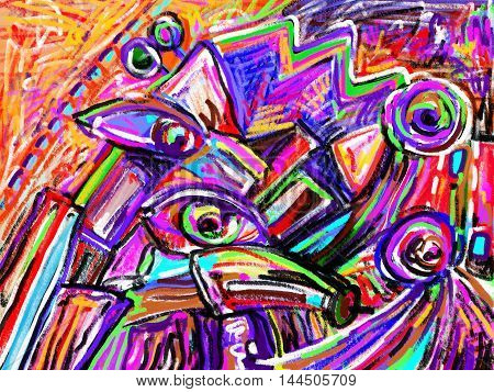 original digital painting of abstraction composition, you can use this artwork print in interior, fabric design, page decoration, packing, art book and other