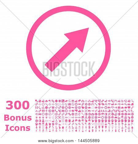 Up-Right Rounded Arrow icon with 300 bonus icons. Vector illustration style is flat iconic symbols, pink color, white background.