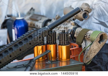 military equipment and ammunition to arms closeup