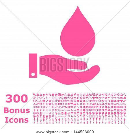 Water Service icon with 300 bonus icons. Vector illustration style is flat iconic symbols, pink color, white background.