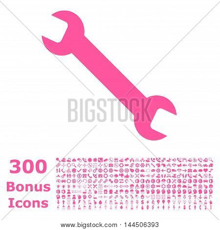 Wrench icon with 300 bonus icons. Vector illustration style is flat iconic symbols, pink color, white background.