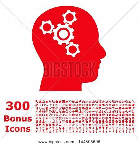 Brain Mechanics icon with 300 bonus icons. Vector illustration style is flat iconic symbols, red color, white background.