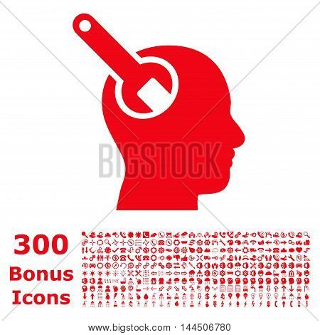 Brain Tool icon with 300 bonus icons. Vector illustration style is flat iconic symbols, red color, white background.