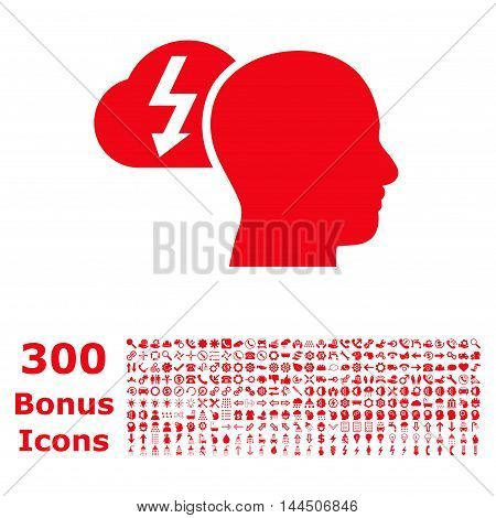 Brainstorming icon with 300 bonus icons. Vector illustration style is flat iconic symbols, red color, white background.