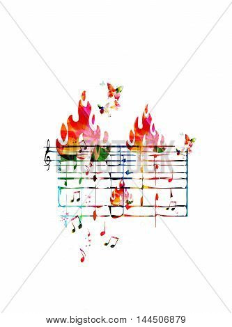Creative music concept vector illustration, colorful music stave with notes and g-clef, butterflies and fire flames. Design for poster, card, brochure, flyer, concert, music festival, music shop
