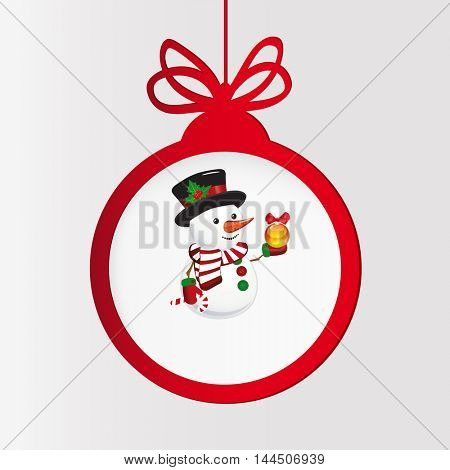 New year clock. Christmas ball and snowman.