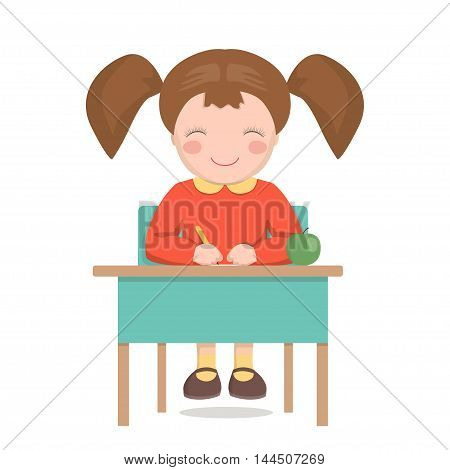 smiling girl student writing sitting at the table vector illustration