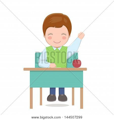 Smiling boy answers question, student raised his hand, sitting at table, vector illustration