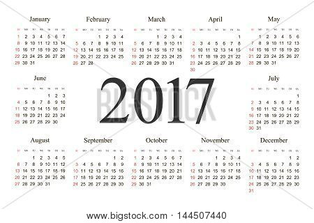 Vector Simple 2017 year calendar. Week starts from Sunday eps 10