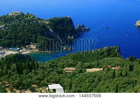 View Over Paleokastritsa On Corfu Island