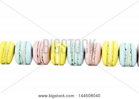 French Colorful Macarons Isolated On A White