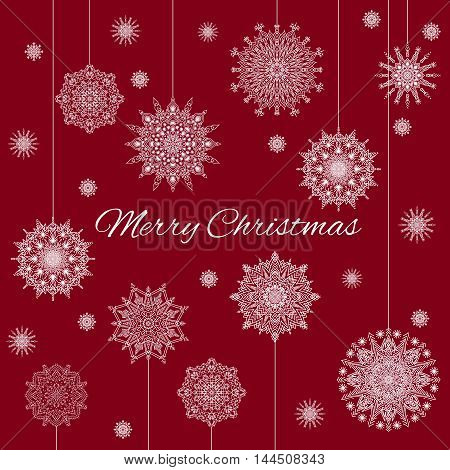 Christmas Banner With Snowflakes And Text On Claret Background
