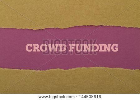 Crowd Funding written under torn paper .